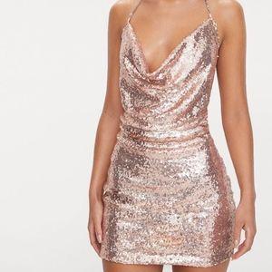 Rose Gold Sequin Choker Mini Dress